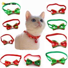 Опт Рождественская серия домашних животных галстук галстук галстук галстук с блестящими горный хрусталь собака кошка домашнее животное рождественские украшения принадлежности аксессуары шеи ремешок XCC299