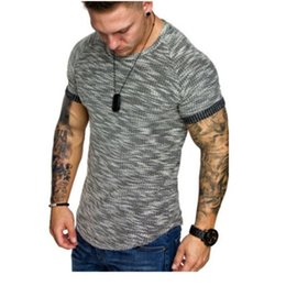 Wholesale muscle shirts resale online - 3 Colors Mens T Shirts Pattern O neck Short Sleeve Sports Summer Fashion Bodybuilding Muscles Clothes Training Wear