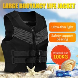 Universal Life Jacket Outdoor Swimming Boating Skiing Driving Vest Survival Suit Polyester For Adult XXXL & Buoy on Sale