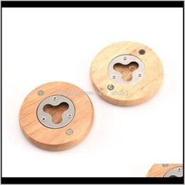 bottle opener magnets 2021 - Openers Kitchen Tools Kitchen Dining Bar Home Garden Drop Delivery 2021 Innovative Design Magnetic A Wood Round Fridger Magnet Coaster Bottle