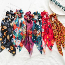 Discount hair bow tie holder Halloween Hair Scarf Satin Ribbon Hair Scrunchies Tie Rope Elastic Bow Hair Band Ponytail Holder Scarfs Pumpkin Hairband Christmas Gift 5828