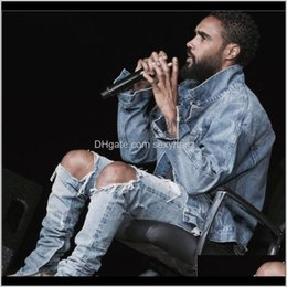 american apparel jeans UK - Jeans Apparel Drop Delivery 2021 Wholesale Kpop Skinny Ripped Korean Hip Hop Fashion Pants Cool Mens Urban Clothing Jumpsuit Men Slp 8Lhlr