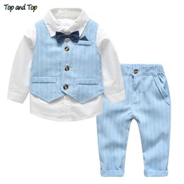 Wholesale gentleman vest for sale - Group buy Clothing Sets and Top Spring Autumn Baby Boy Gentleman Suit White Shirt with Bow Tie Striped Vest Trousers Formal Kids Clothes Set Q1215
