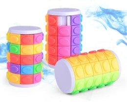 3D Tourner Slide Puzzle tour Cubes magiques Cubes coulissantes Cylindre Intelligence éducative Jeu mental pour enfants enfants en Solde