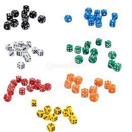 x 12mm 50 Opaque Six Sided Spot Set D6 D&D RPG To You Playing Dice Games 7 Colors 6L4I on Sale