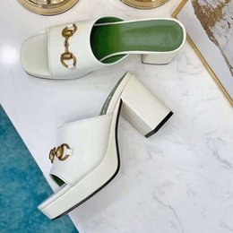 shoes metal soles UK - Designer thick soled high heeled shoes with metal buckle slippers white sandals summer women's shoes fairy black women's high he