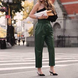 Wholesale korean ladies pants for sale - Group buy Elegant Leather Pants Women High Waist Vintage Straight Trousers Korean Streetwear Office Lady Green Women s Capris