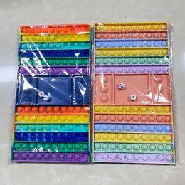 減圧玩具プッシュバブルチェッカーボードレインボーストレスReliever Fidget Toy Autismスペシャルニーズ官能贈り物のためのシンクパーティーゲーム