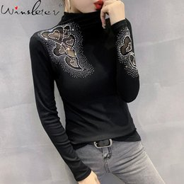 women shiny shirt Australia - Fall Winter European Clothes T-shirt Chic Sexy Transparent Shiny Cotton Diamonds Beads Women Tops Ropa Mujer Tees Black T09201L Women's