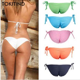 Wholesale cheeky bottom bikinis for sale - Group buy TOKITIND Women Swimwear Bikini Bottoms Bow Bottom Brazilian Cheeky Bottom Swimsuit Biquini Bikinis Color