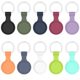 Wholesale TPU Silicone Case For Apple Airtags Air Tags alarm Bluetooth Wireless Tracker Carry Cover Anti-lost Protector Shell With Hook keychain