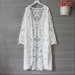 Wholesale cardigan kimono resale online - Lace Cardigan Women Shirt Summer Kimono Long Cardigans Embroidery White Korean Clothes Sleeve Beach Crochet