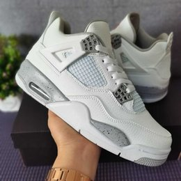 sell White Oreo jumpman 4 mens shoes high quality Tech Grey Black Fire Red 4s men women trainers sneakers US5.5-13 on Sale