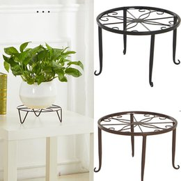 metal chrome plating 2021 - Creative Round Wrought Iron Potted Stander Flower Shelf Pot Holder Balcony Garden Basion Display Plant Rack Planters & Pots