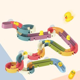 toy tool sets for kids Australia - New Baby Bathroom Duck DIY Track Bathtub Kids Play Water Games Tool Bathing Shower Wall Suction Set Bath Toy for Children Gifts 210320