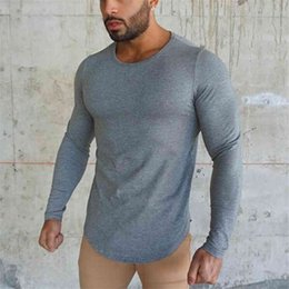Wholesale longsleeve shirts for sale - Group buy Brand fashion Mens t shirt Spring Autumn Slim longsleeve Fitted T shirts male Tops Leisure Bodybuilding Long Sleeve tees