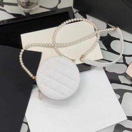 Women Designers Bags 2021 Fashion Brand Genuine Leather Handbags Purses Designer Handbag Round Pearl Chain Cake Bag(12*12CM)