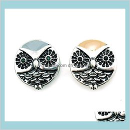 noosa owl UK - Hooks Findings Components Drop Delivery 2021 Fashion 18Mm Snap Buttons 2 Color Enamel Owl Alloy Ginger Clasps Diy Noosa Interchangeable Brace