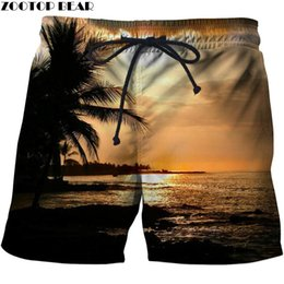 Wholesale printer man resale online - Sunset Men T Shorts Tree Surfing Quick Dry Bodybuilding Breathable D Printer Clothing Short Summer Coconut Palm Beach Male Men s