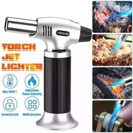 Wholesale guns safety resale online - Kitchen Torch Lighter Jet Gas Spray Gun Refillable Mini Blow Butane Cooking Torch lighters with Safety Lock Adjustable Flame for Creme Brulee Outdoor BBQ Baking