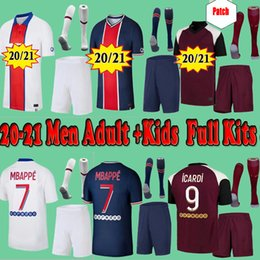 Kids PSG Paris saint germain kits 20 21 Soccer Jersey 2020 2021 Mbappé ICARDI Neymar camisa JR homens crianças conjuntos de uniformes maillot de hommes Paris pé em Promoção
