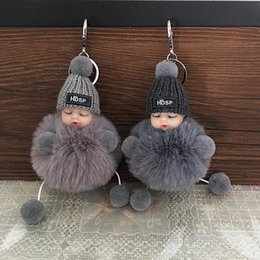 Wholesale old cartoons resale online - Cute Cartoon Sleeping Doll Keychain Fur Ball Plush KeyChains Keyring Women Handbag Car Key Holder Bag Pendant Toys for Kids Gift