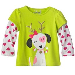 Wholesale christmas tee shirts for kids resale online - christmas Children T shirts Girls Tee shirts Cotton kids t shirts baby girls clothes dog x mas gift for girl