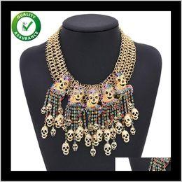 Wholesale Designer Fashion Jewelry Women Luxury Skull Statement Necklaces Pendant Vintage Pirate Skeleton Biker Rock Punk 4Dew3 Sikbo