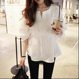 Wholesale korean necked models for sale - Group buy Women Shirts spring models Korean version of the seven point sleeves cotton and linen round neck tie shirt female ruffled