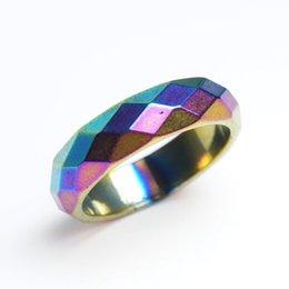 Оптовые граненые гематитные кольца Радуга Магнитный US Размер 6 7 8 9 10 11 12 на Распродаже