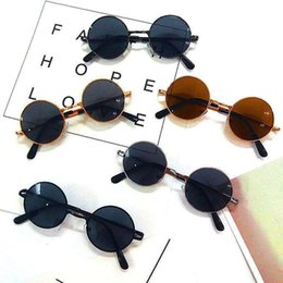 sunglasses for babies UK - Round Metal Sunglasses for Boys and Girls Fashion Baby Glasses Personality Street Photo Sunglasses