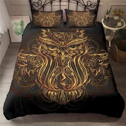 owl bedding set full Canada - Bedding sets Bo Niu Set 3D Owl Digital Printing Duvet Cover Bedroom Comforter And Pillowcases King Size