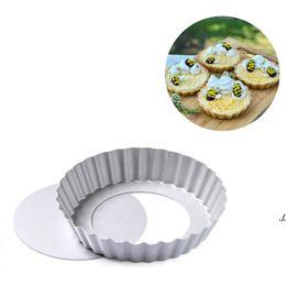 Newmini tart pan removível fundo não-stick rodada quiche bakeware bolos sobremesas cookie podding molde 4 polegadas ewe6689 em Promoção