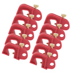 wholesale circuit breakers Australia - 10PCS LOT Universal Circuit Breaker Lockout Red With Twisted Screw Made Of Glass Filled Nylon Sturdy And Durable In Use Grow Lights
