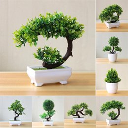 pine tree bonsai 2021 - 21Styles Small Green Artificial Plants Bonsai Plastic Grass Ball Pine Tree Potted Christma Home Party Decor El Desktop Decorative Flowers &