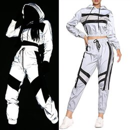 pants block UK - 2 Pcs Women Reflective Outfits, Adults Long Sleeve Color Block Hooded Crop Top + Pants with Drawstring