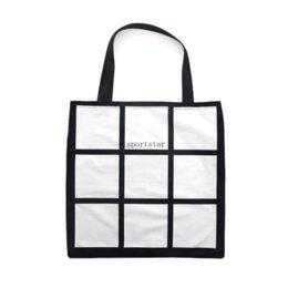 Sublimation Grid Tote Bag Blank White DIY heat transfer shopping bag 9 panels Cloth Frabic reusable Storage gift bag handbag