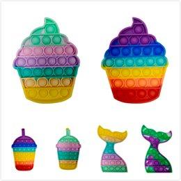 Vente en gros Poussoir anti-stress anti-stress jouet jouet enfants bulles pop i part crème glacée jeu cadeaux cadeaux enfants amusant pression réduction