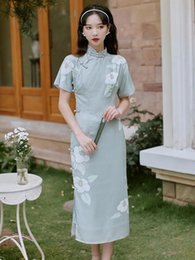 girl chinese cheongsam dress UK - 4910# Summer Young Girl Modified Dress Vintage Retro Chinese Improved Cheongsam Elegant Mandarin Collar Female Qipao Ethnic Clothing