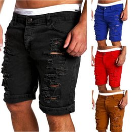 boys jeans sizes UK - Men's Denim Chino Fashion Shorts Washed Boy Skinny Runway Short Men Jeans Homme Destroyed Ripped Plus Size