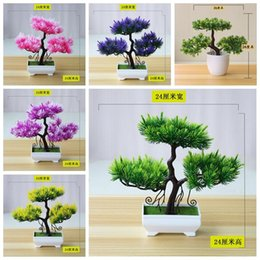 pine tree bonsai 2021 - 24cm Artificial Guest Greeting Small Pine Tree White Potted Plants Bonsai Home Garden Living Room Balcony Desktop Mini Decorative Flowers &