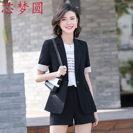 Wholesale short sleeve fitted blazer resale online - Spring Summer Short Sleeve Professional Women s Splicing Medium and Long Blazer Versatile Slim Fit Interview Sales Dress Woman