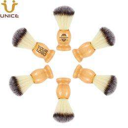 MOQ 50 PCS Shaving Brush OEM ODM Cutomized LOGO Wood Handle With Nylon Bristles Barber Razor Facial Hair & Beard Shave Cleanning Brushes on Sale