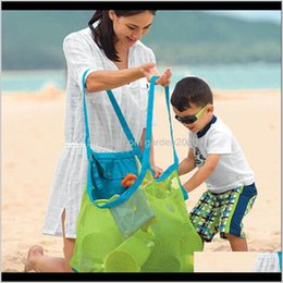 Discount large designer beach bags Large Size Portable Kids Baby Mesh Beach Storage Bags Sand Away Carry Balls Clothes Towel Toy Collection Bag Yfjzd Piejt