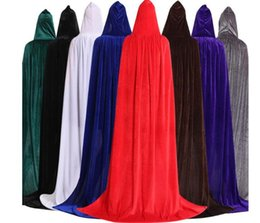 Wholesale short costume capes for sale - Group buy Adult Unisex Velvet Solid Color Long Hooded Cloak Halloween Costume Party Cape