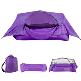 outdoor tent pink 2021 - Portable 2-in-1 Airbed Tent Inflatable Air Sofa With Canopy Outdoor Camping Backpacking Hiking Suspension Bed Tents And Shelters