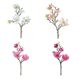 wholesale artificial magnolia flowers UK - Artificial Magnolia Flowers Simulation Flower For Wedding Party Garden Home Bedroom Table Office Decoration Decorative & Wreaths YAYA AQGP