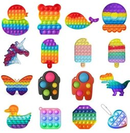 Wholesale New 2021 Rainbow Push Popit Bubble Fidget Sensory Toy Stress Reliever Stress Relief Toys Anxiety Relief Toys For Kids Birthday Party Gifts