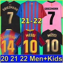 Barcelona soccer jersey BARCA 21 22 camiseta de futbol ANSU FATI 2021 2022 MESSI GRIEZMANN F.DE JONG Maillots de football shirt men kids kit on Sale