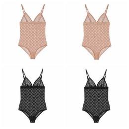 チュールレースボディスーツファッションレター刺繍のランジェリーレディースソフト快適な通気性下着ボディスーツプールスパビーチビキニ水着